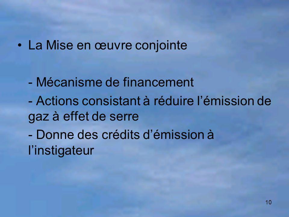 10 La Mise en œuvre conjointe - Mécanisme de financement - Actions consistant à réduire l'émission de gaz à effet de serre - Donne des crédits d'émiss