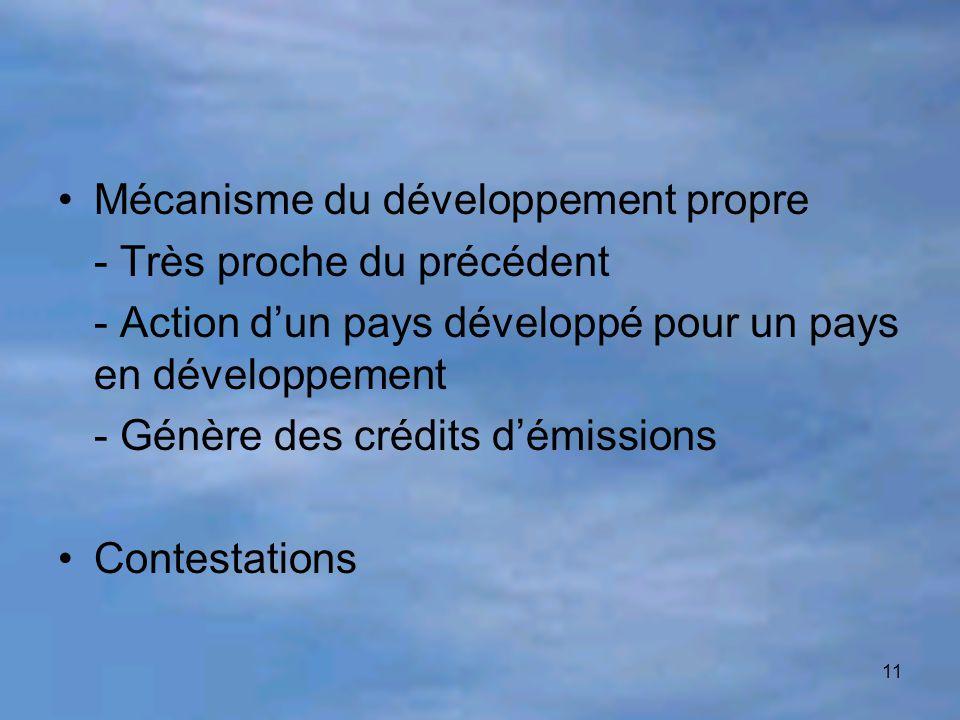 11 Mécanisme du développement propre - Très proche du précédent - Action d'un pays développé pour un pays en développement - Génère des crédits d'émis