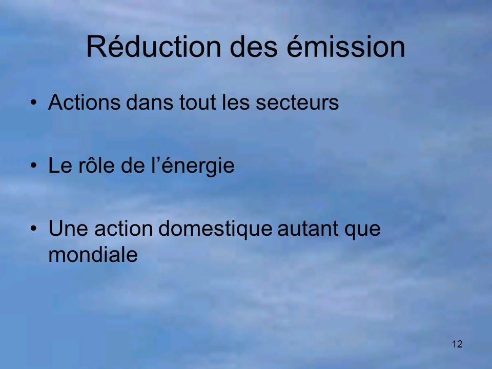 12 Réduction des émission Actions dans tout les secteurs Le rôle de l'énergie Une action domestique autant que mondiale