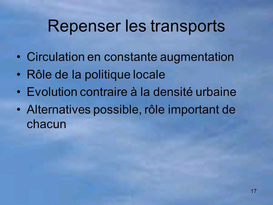 17 Repenser les transports Circulation en constante augmentation Rôle de la politique locale Evolution contraire à la densité urbaine Alternatives pos