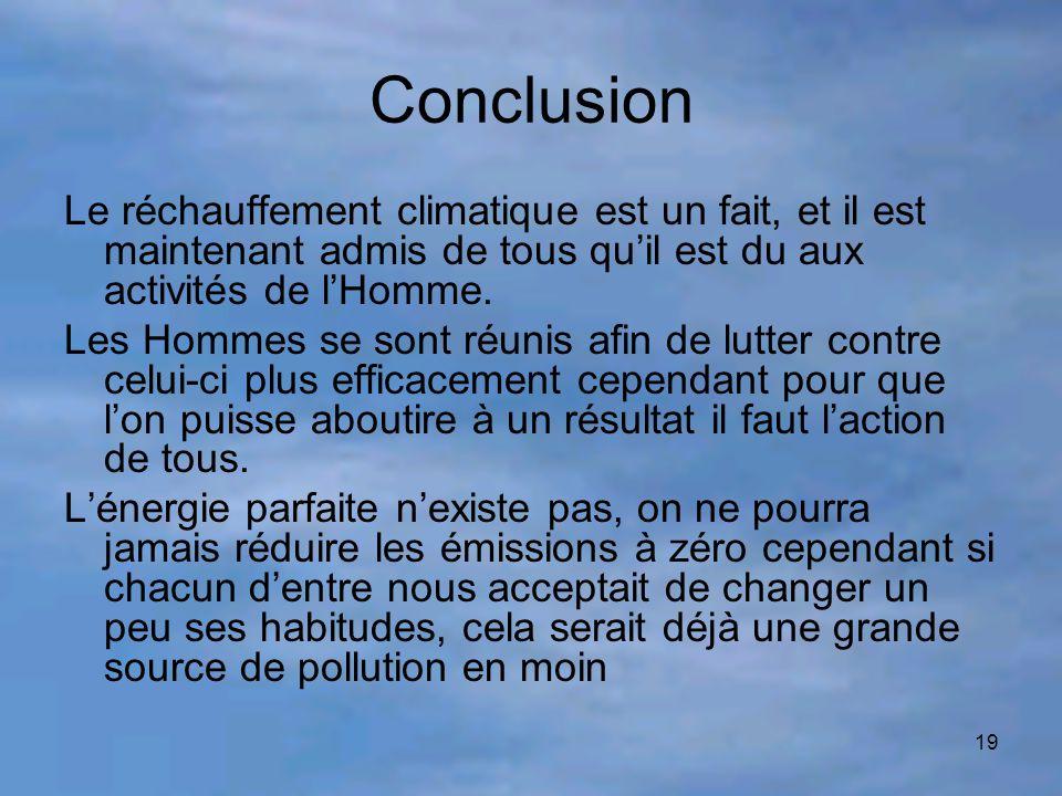 19 Conclusion Le réchauffement climatique est un fait, et il est maintenant admis de tous qu'il est du aux activités de l'Homme. Les Hommes se sont ré
