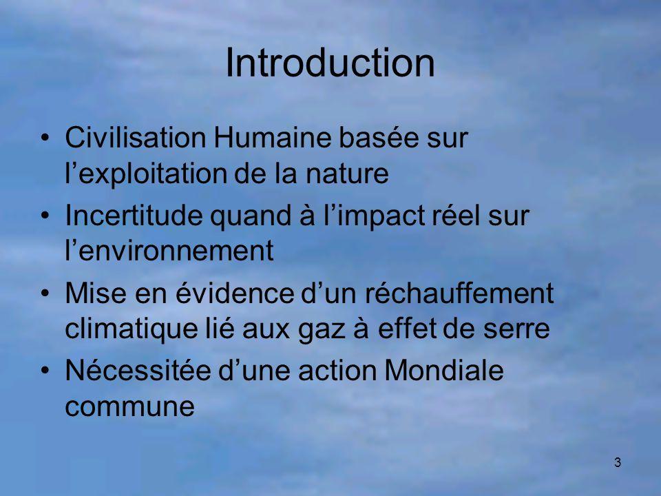 3 Introduction Civilisation Humaine basée sur l'exploitation de la nature Incertitude quand à l'impact réel sur l'environnement Mise en évidence d'un