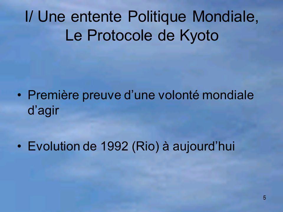 5 I/ Une entente Politique Mondiale, Le Protocole de Kyoto Première preuve d'une volonté mondiale d'agir Evolution de 1992 (Rio) à aujourd'hui