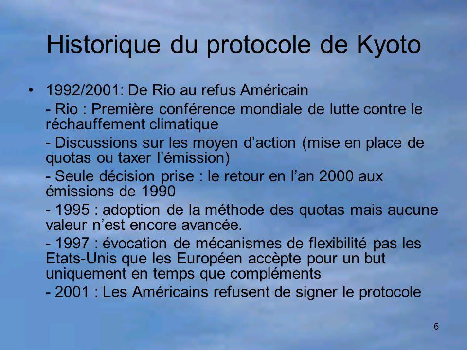 6 Historique du protocole de Kyoto 1992/2001: De Rio au refus Américain - Rio : Première conférence mondiale de lutte contre le réchauffement climatiq