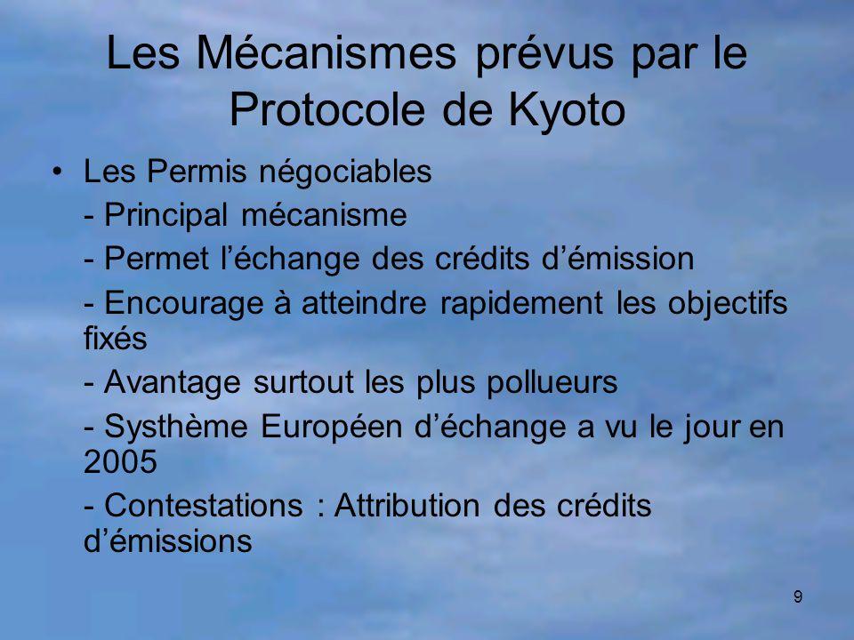 9 Les Mécanismes prévus par le Protocole de Kyoto Les Permis négociables - Principal mécanisme - Permet l'échange des crédits d'émission - Encourage à