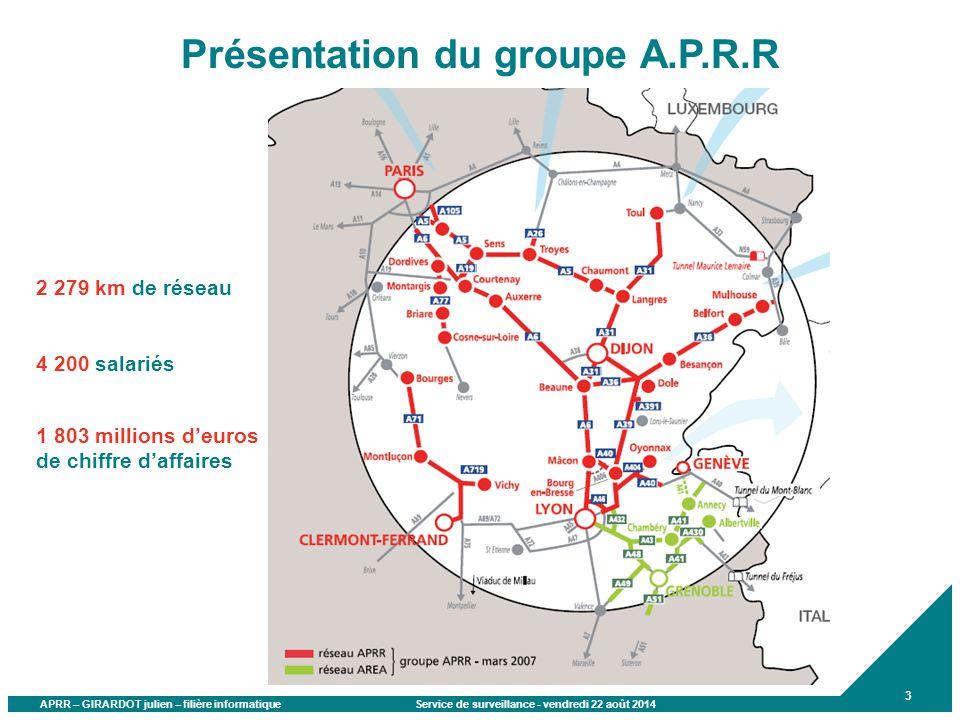APRR – GIRARDOT julien – filière informatique Service de surveillance - vendredi 22 août 2014 3 Présentation du groupe A.P.R.R 2 279 km de réseau 4 20