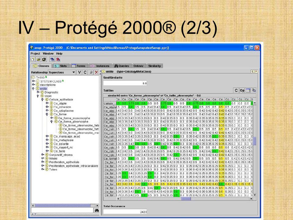 IV – Protégé 2000® (2/3)