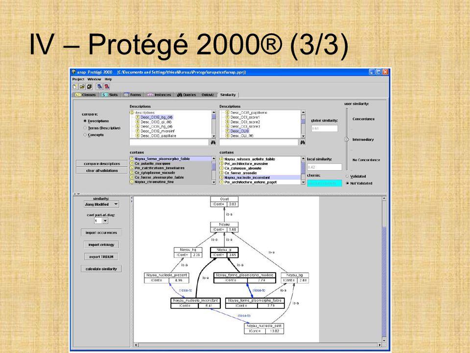 IV – Protégé 2000® (3/3)