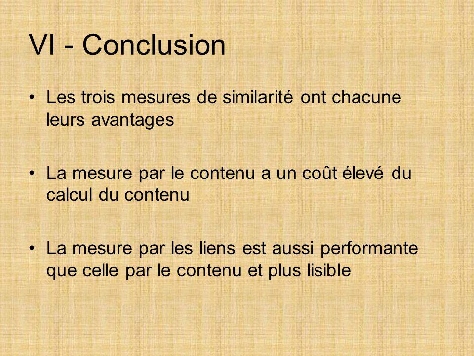 Les trois mesures de similarité ont chacune leurs avantages La mesure par le contenu a un coût élevé du calcul du contenu La mesure par les liens est