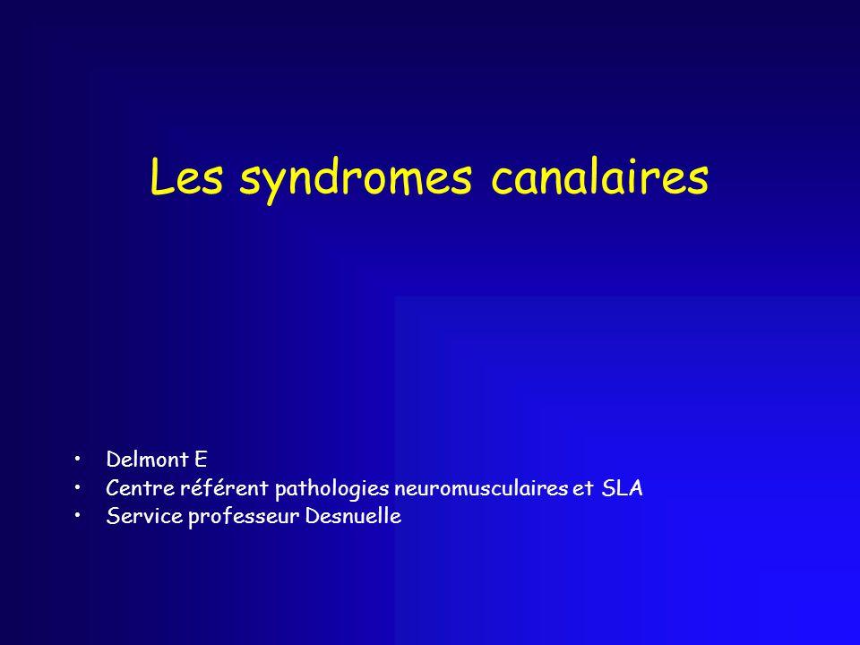 Les syndromes canalaires Delmont E Centre référent pathologies neuromusculaires et SLA Service professeur Desnuelle