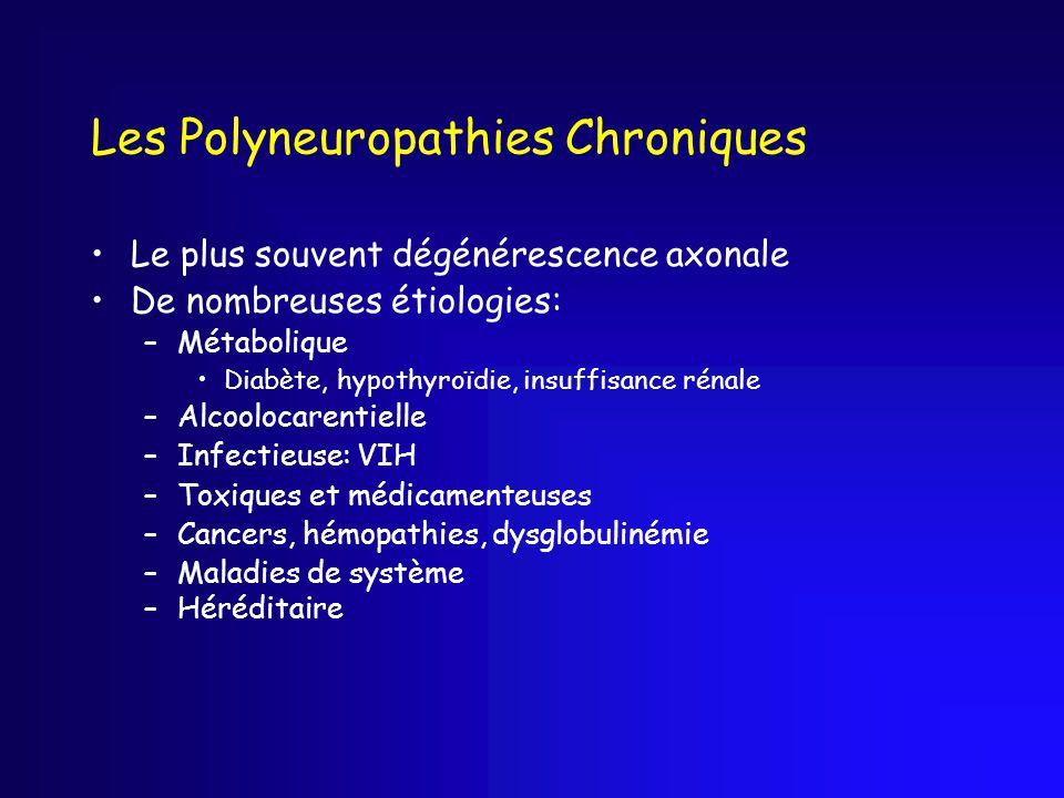 Les Polyneuropathies Chroniques Le plus souvent dégénérescence axonale De nombreuses étiologies: –Métabolique Diabète, hypothyroïdie, insuffisance rén