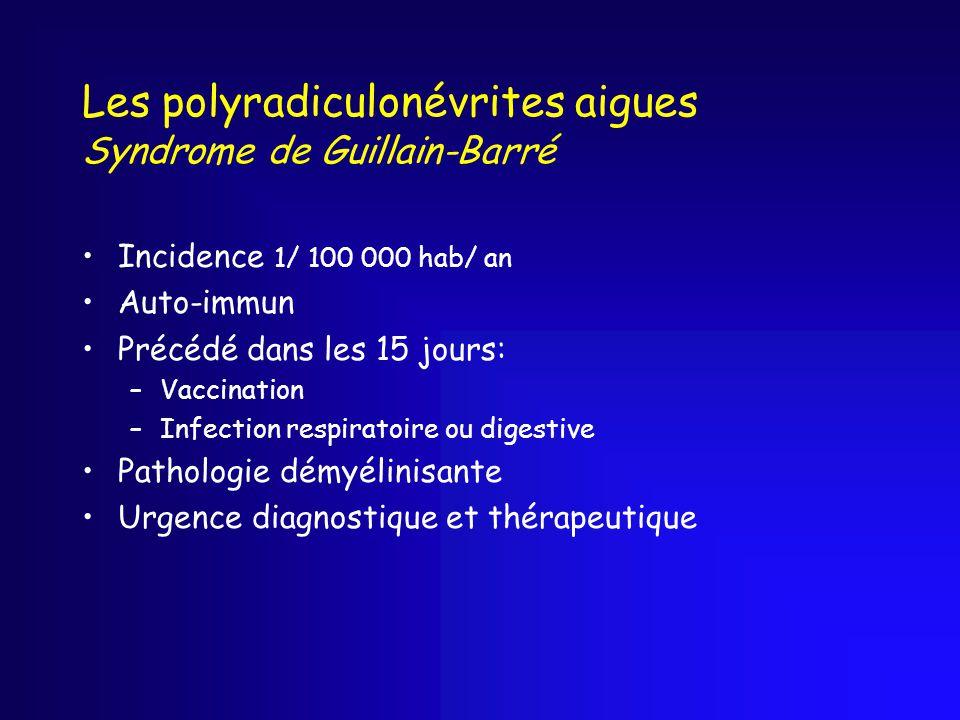 Les polyradiculonévrites aigues Syndrome de Guillain-Barré Incidence 1/ 100 000 hab/ an Auto-immun Précédé dans les 15 jours: –Vaccination –Infection