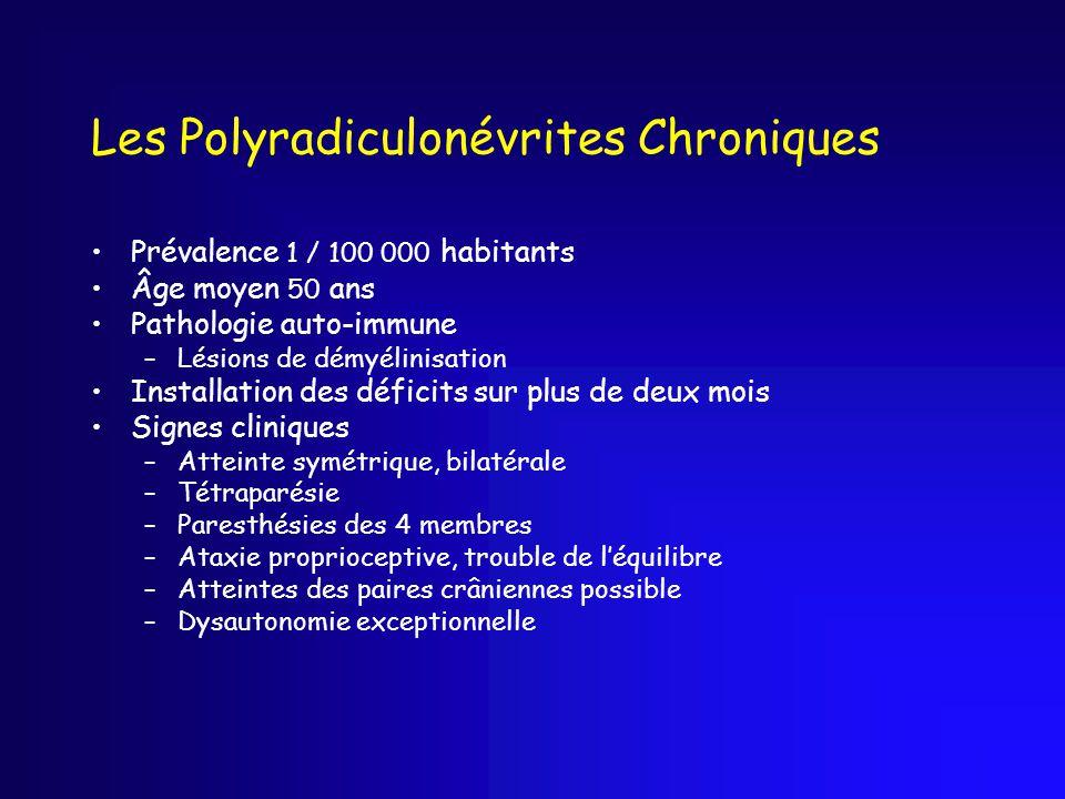 Les Polyradiculonévrites Chroniques Prévalence 1 / 100 000 habitants Âge moyen 50 ans Pathologie auto-immune –Lésions de démyélinisation Installation