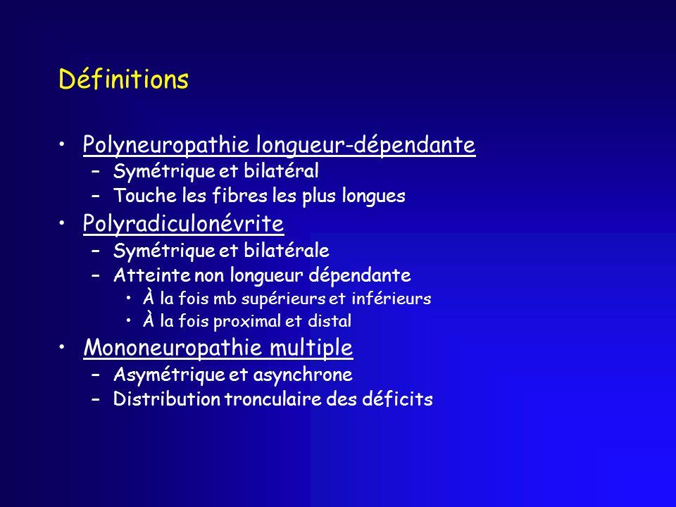 Définitions Polyneuropathie longueur-dépendante –Symétrique et bilatéral –Touche les fibres les plus longues Polyradiculonévrite –Symétrique et bilaté