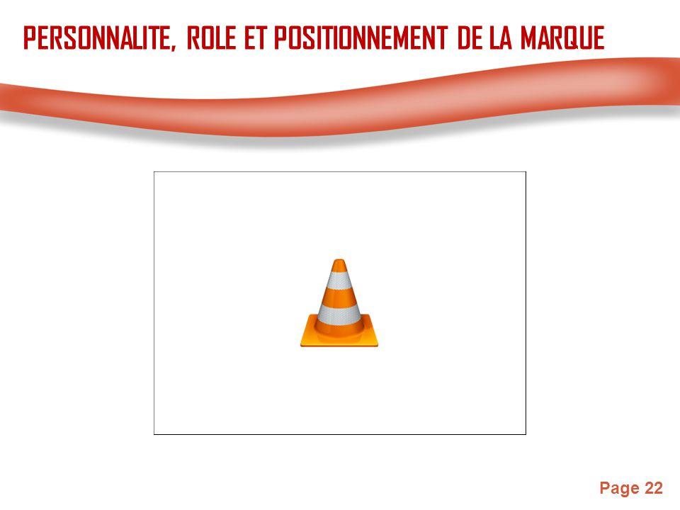 Page 22 PERSONNALITE, ROLE ET POSITIONNEMENT DE LA MARQUE