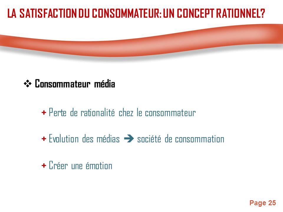 Page 25  Consommateur média + Perte de rationalité chez le consommateur + Evolution des médias  société de consommation LA SATISFACTION DU CONSOMMAT