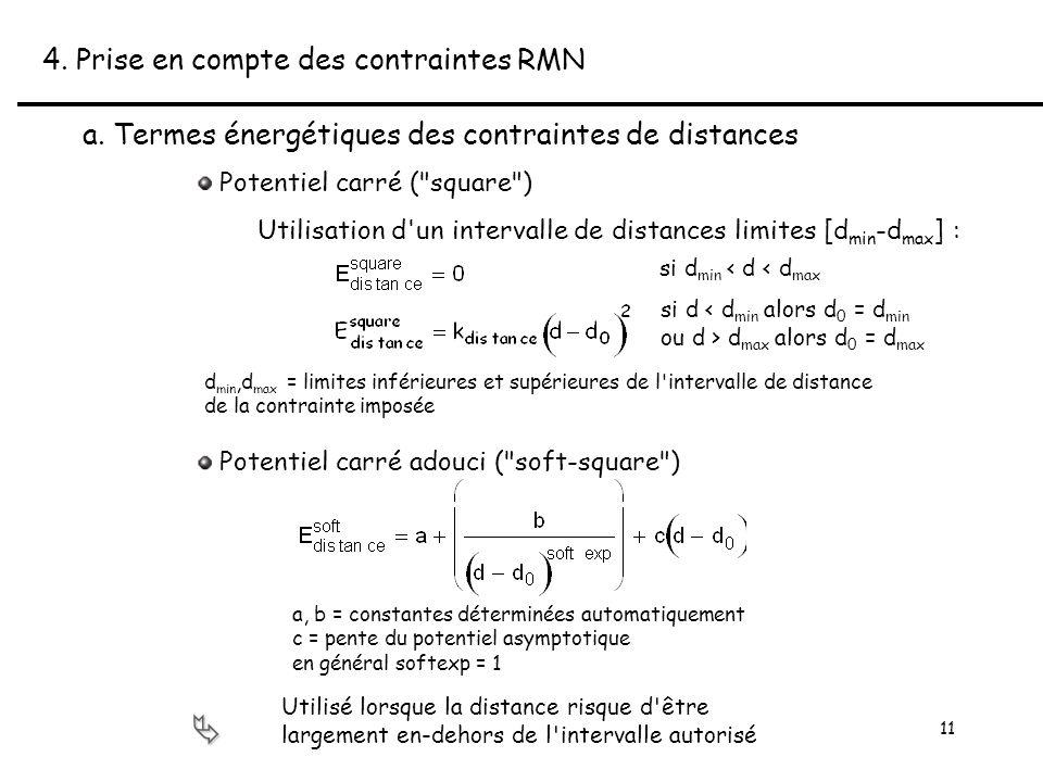 11 4. Prise en compte des contraintes RMN a.
