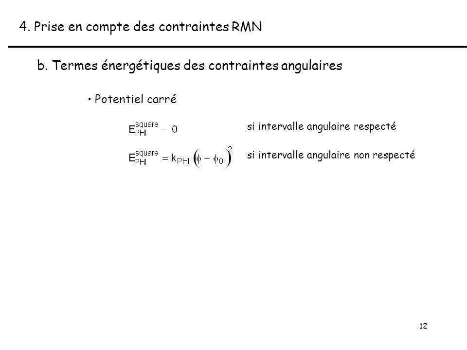 12 4. Prise en compte des contraintes RMN b.