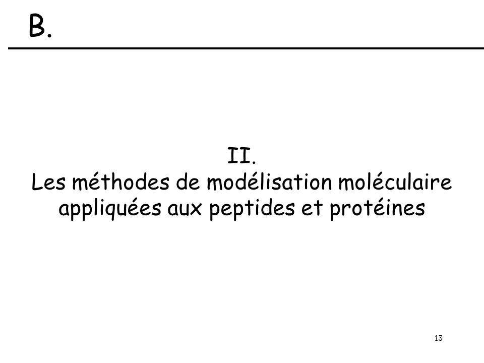13 II. Les méthodes de modélisation moléculaire appliquées aux peptides et protéines B.
