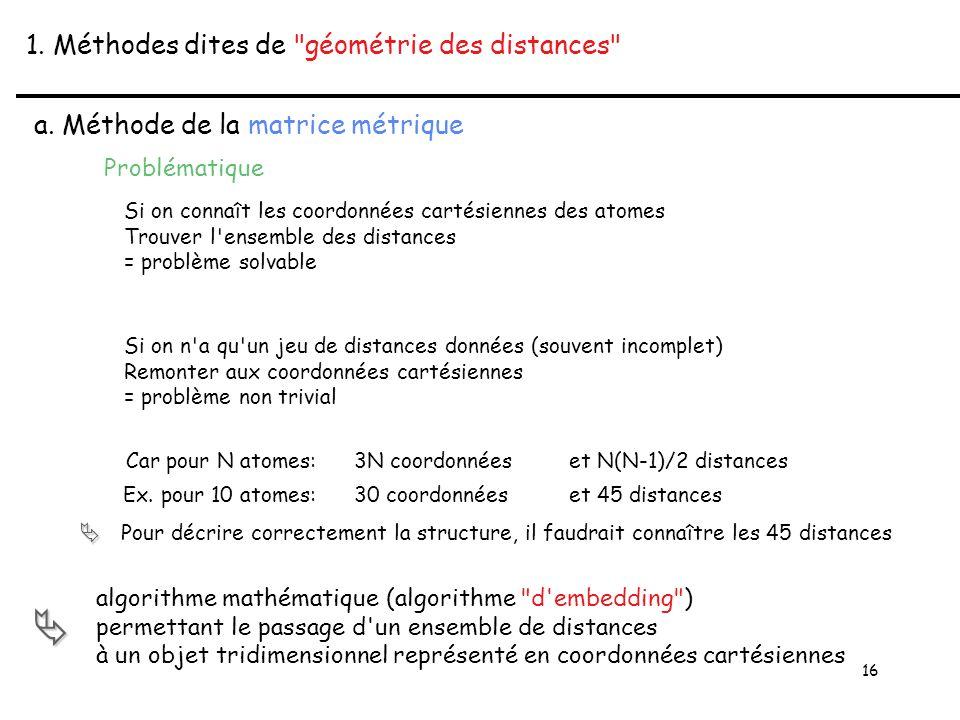 16 1. Méthodes dites de géométrie des distances a.