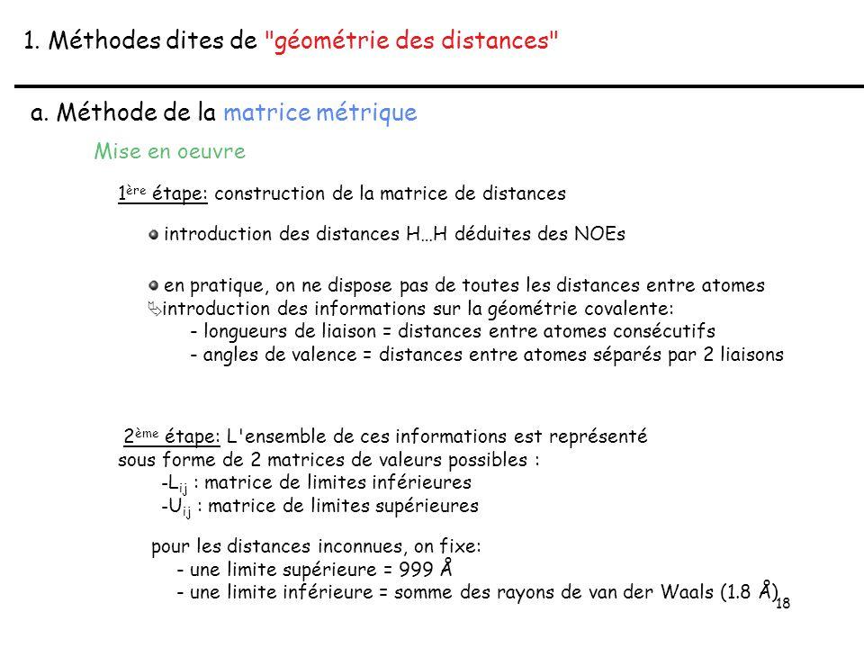 18 1. Méthodes dites de géométrie des distances a.