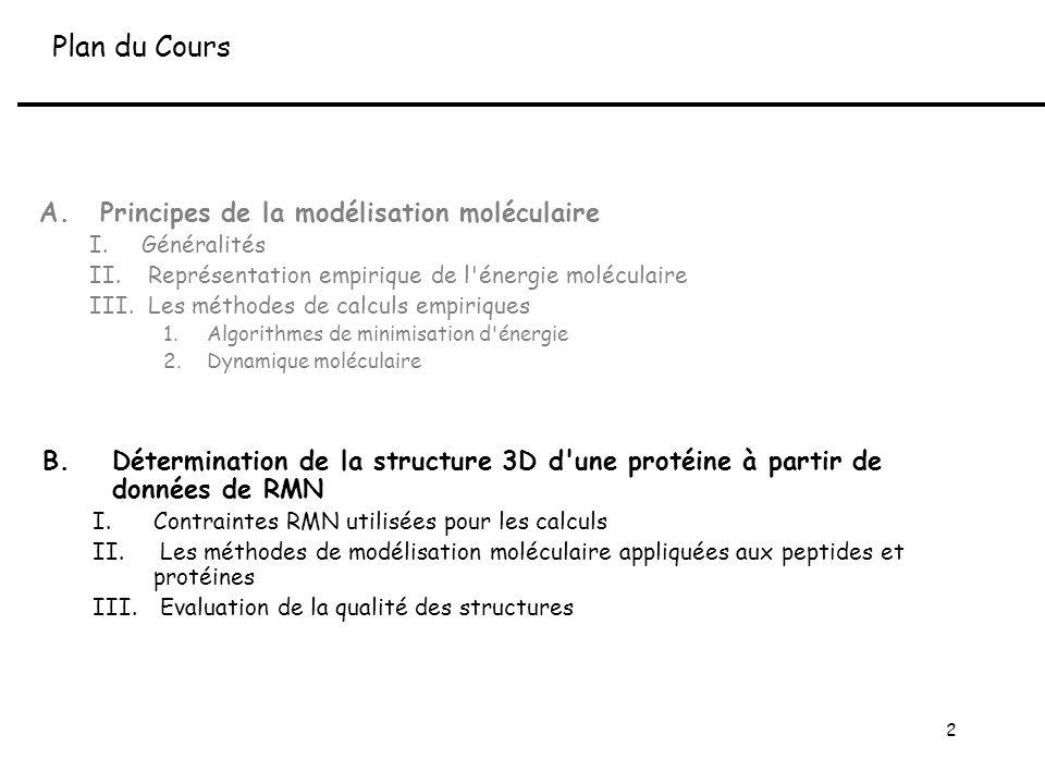 2 B.Détermination de la structure 3D d une protéine à partir de données de RMN I.Contraintes RMN utilisées pour les calculs II.