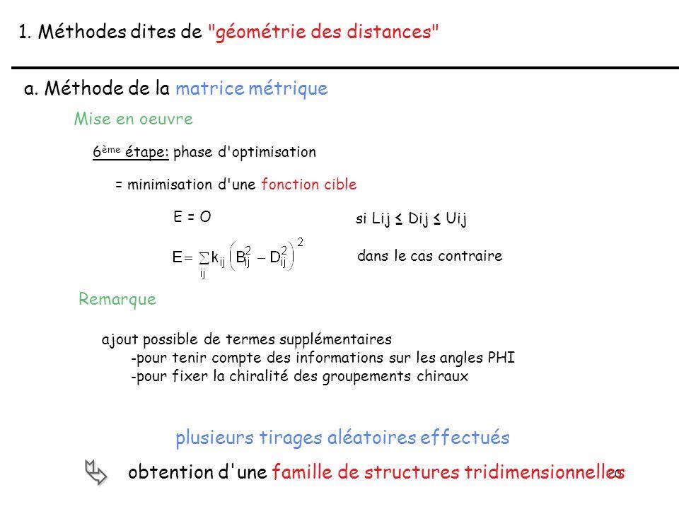 20 1. Méthodes dites de géométrie des distances a.