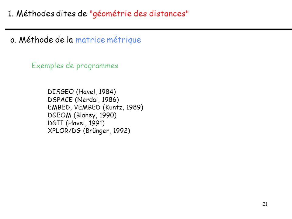 21 1. Méthodes dites de géométrie des distances a.