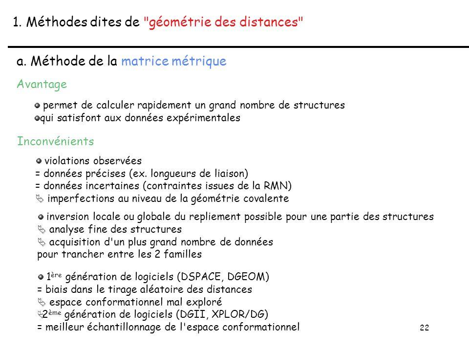 22 1. Méthodes dites de géométrie des distances a.