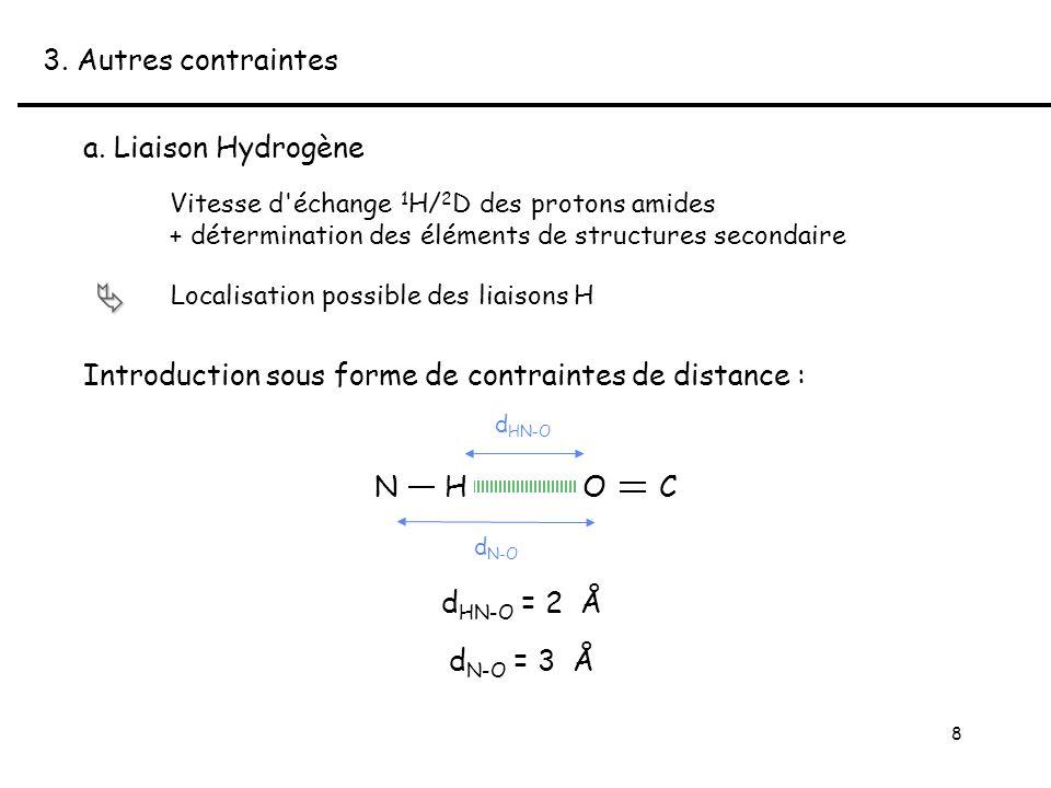 8 Vitesse d échange 1 H/ 2 D des protons amides + détermination des éléments de structures secondaire Localisation possible des liaisons H 3.