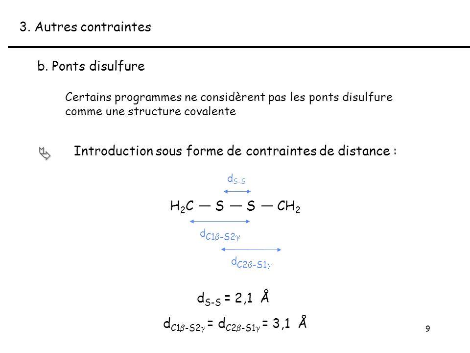 9 Certains programmes ne considèrent pas les ponts disulfure comme une structure covalente 3.