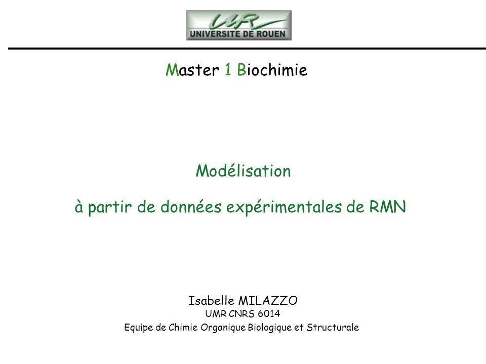 Master 1 Biochimie Isabelle MILAZZO UMR CNRS 6014 Equipe de Chimie Organique Biologique et Structurale Modélisation à partir de données expérimentales