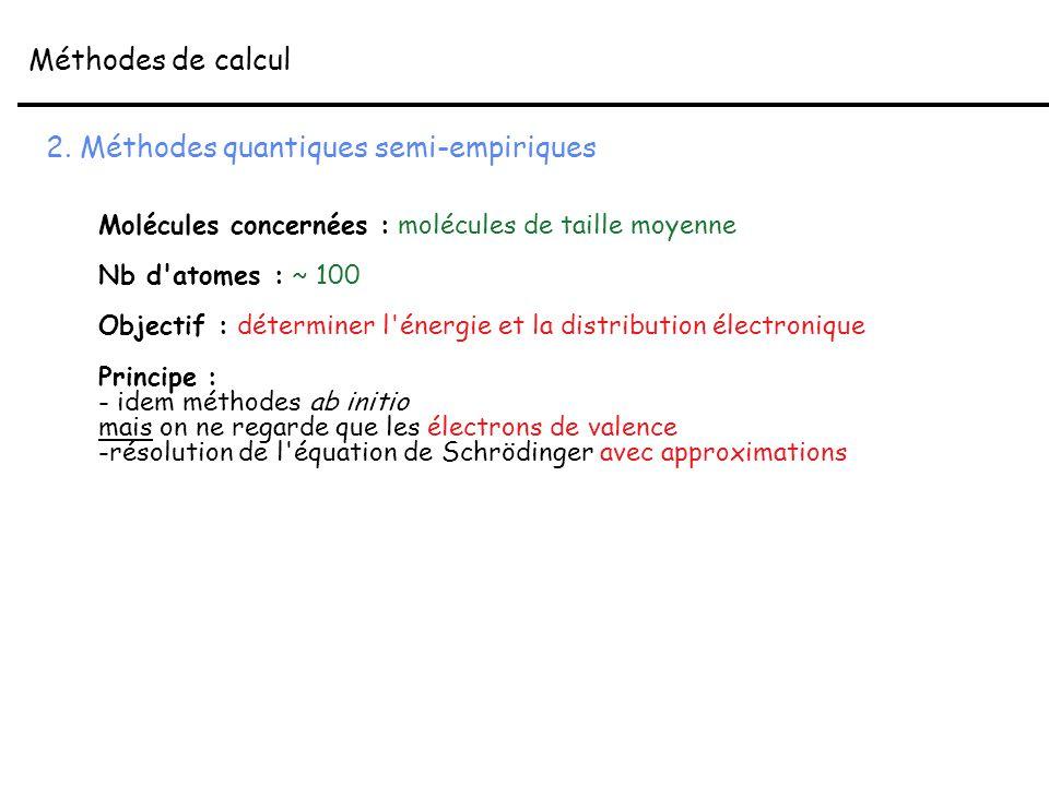 2. Méthodes quantiques semi-empiriques Molécules concernées : molécules de taille moyenne Nb d'atomes : ~ 100 Objectif : déterminer l'énergie et la di