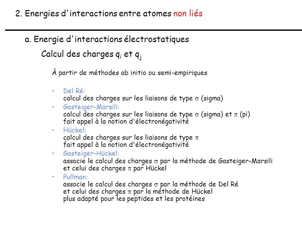 2. Energies d'interactions entre atomes non liés a. Energie d'interactions électrostatiques Calcul des charges q i et q j À partir de méthodes ab init
