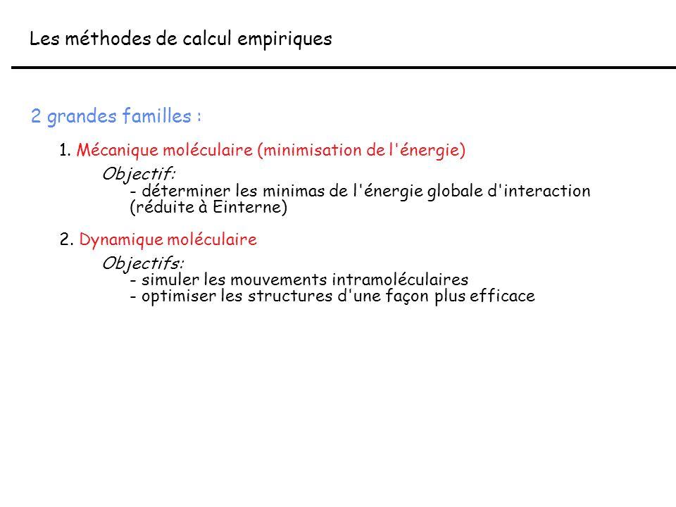 2 grandes familles : 1. Mécanique moléculaire (minimisation de l'énergie) Objectif: - déterminer les minimas de l'énergie globale d'interaction (rédui
