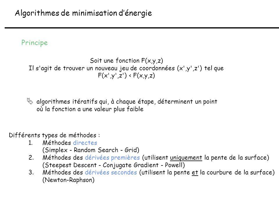 Principe Soit une fonction F(x,y,z) Il s'agit de trouver un nouveau jeu de coordonnées (x',y',z') tel que F(x',y',z') < F(x,y,z) algorithmes itératifs