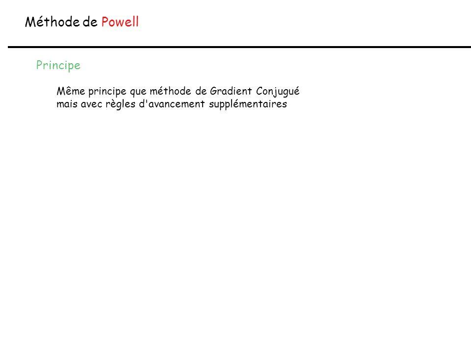 Méthode de Powell Principe Même principe que méthode de Gradient Conjugué mais avec règles d'avancement supplémentaires