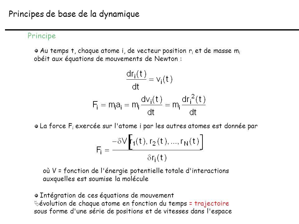 Principe Au temps t, chaque atome i, de vecteur position r i et de masse m i obéit aux équations de mouvements de Newton : La force F i exercée sur l'
