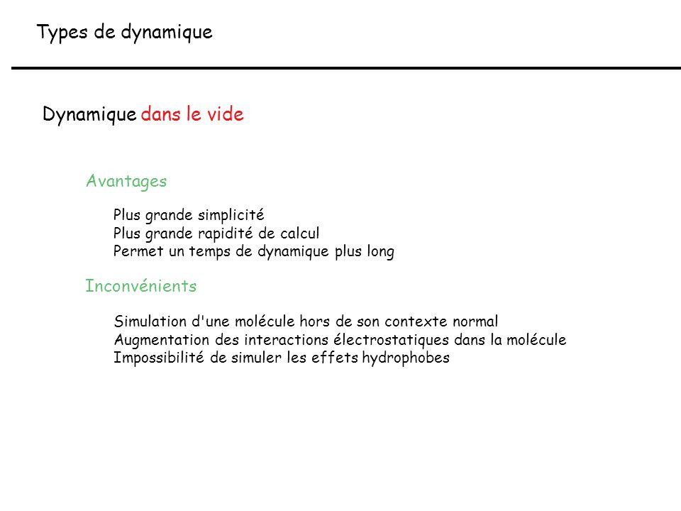 Types de dynamique Dynamique dans le vide Avantages Plus grande simplicité Plus grande rapidité de calcul Permet un temps de dynamique plus long Incon