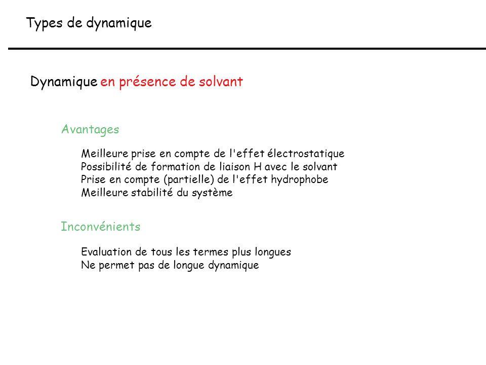 Types de dynamique Dynamique en présence de solvant Avantages Meilleure prise en compte de l'effet électrostatique Possibilité de formation de liaison