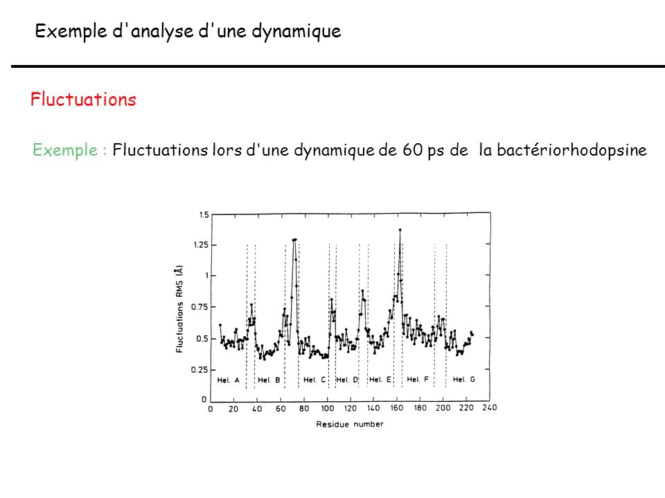 Exemple d'analyse d'une dynamique Fluctuations Exemple : Fluctuations lors d'une dynamique de 60 ps de la bactériorhodopsine