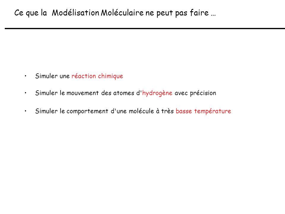 Principe Général de la Modélisation Moléculaire molécule Environnement (solvant, macromolécule,...) Etat d équilibre molécule-environnement = minimum d énergie E E contient 3 termes : 1- E interne (molécule) 2- E interactions (molécule-environnement) 3- E solvant (environnement)