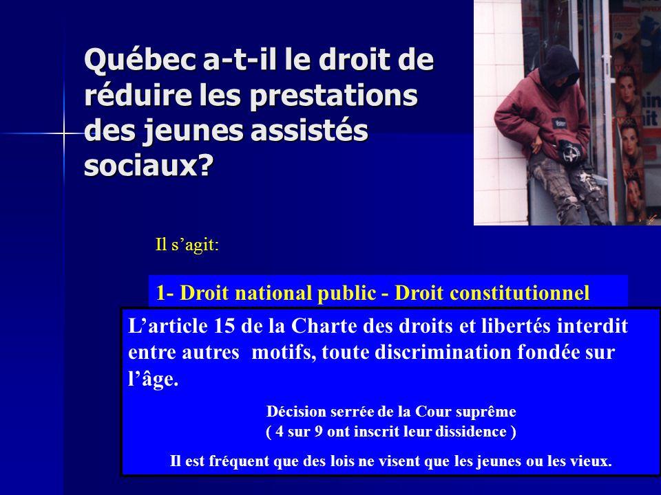 Québec a-t-il le droit de réduire les prestations des jeunes assistés sociaux? Il s'agit: 1- de droit national public 2- de droit national privé 3- de