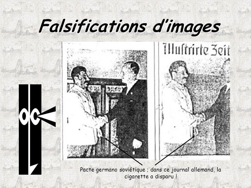 Falsifications d'images Pacte germano soviétique ; dans ce journal allemand, la cigarette a disparu !