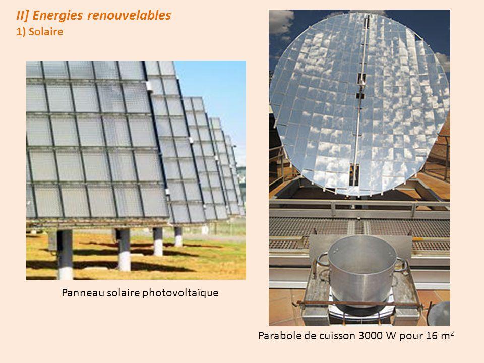 II] Energies renouvelables 1) Solaire Panneau solaire photovoltaïque Parabole de cuisson 3000 W pour 16 m 2