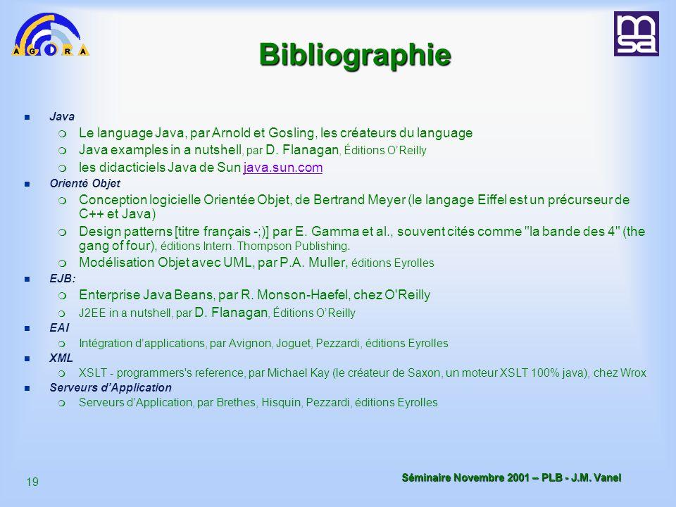 18 Séminaire Novembre 2001 – PLB - J.M.