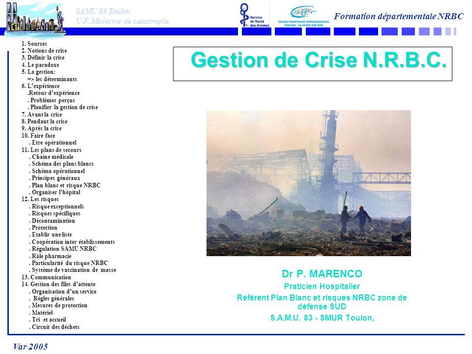 SAMU 83 Toulon U.F.Médecine de catastrophe Formation départementale NRBC Var 2005 1.
