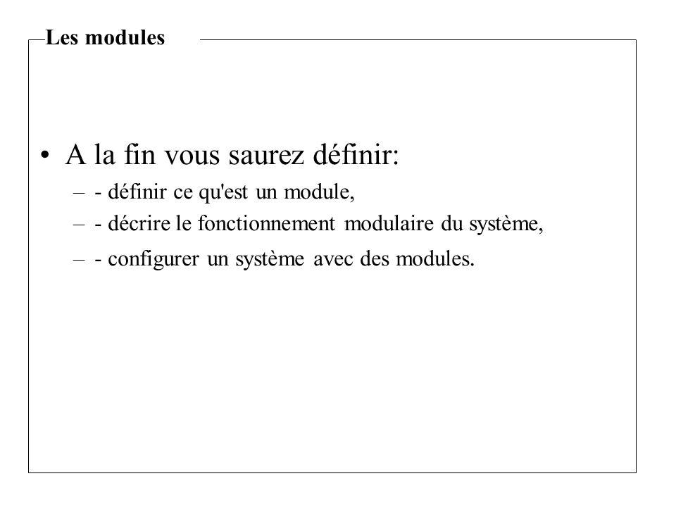 A la fin vous saurez définir: –- définir ce qu est un module, –- décrire le fonctionnement modulaire du système, –- configurer un système avec des modules.