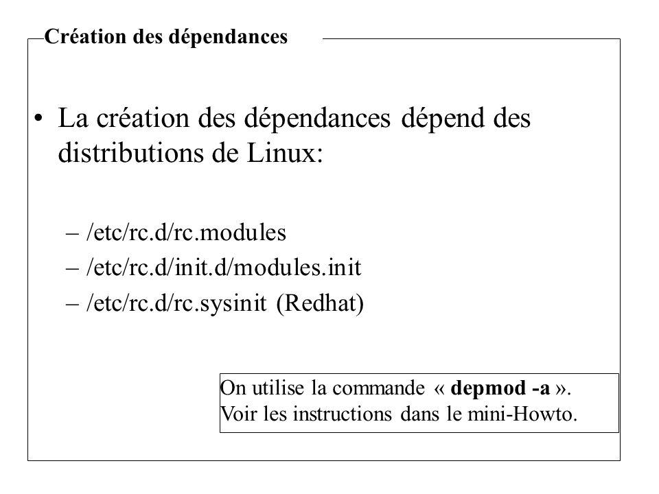 La création des dépendances dépend des distributions de Linux: –/etc/rc.d/rc.modules –/etc/rc.d/init.d/modules.init –/etc/rc.d/rc.sysinit (Redhat) On