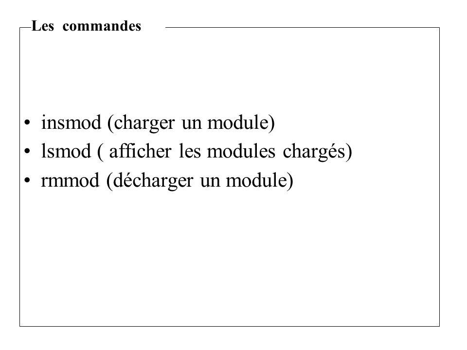 insmod (charger un module) lsmod ( afficher les modules chargés) rmmod (décharger un module) Les commandes